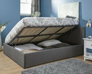 Stylish Grey Fabric Side Lift Ottoman Storage Bed 3FT 4FT 4FT6 & 5FT