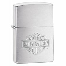Official Harley Davidson Brushed Chrome Logo Zippo Lighter - Boxed New 200HD199