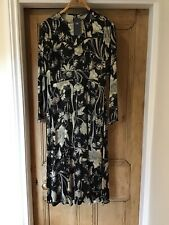 BNWT M&S COLLECTION MIDI DRESS FLORAL BLACK & GOLD SATIN FEEL UK SIZE 14 RRP£69