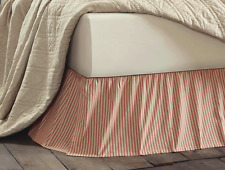 RED TICKING STRIPE Queen BEDSKIRT : COUNTRY VINTAGE KENDRA DUST RUFFLE BED SKIRT
