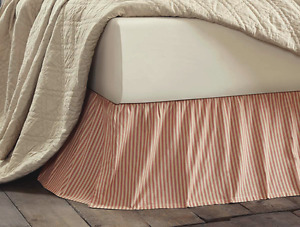 RED TICKING STRIPE King BEDSKIRT : COUNTRY VINTAGE KENDRA DUST RUFFLE BED SKIRT