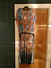 BN ZARA MULTICOLOURED TIE-DYE MIDI TUNIC DRESS SIZE MEDIUM  12-14