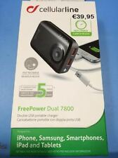 POWER BANK CELLULARLINE CON DOPPIA PORTA  USB FREEPOWER  7800 MAH PER APPLE