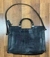 """vintage Leather briefcase Alligator Messenger Bag Black 15x11"""""""
