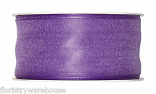 "Lilac Lavender Organza ribbon 40mm (1.5"") wired fabric 25m roll Made in Germany"