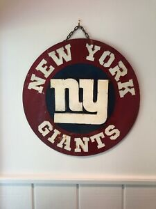 "New York Giants Retro Distressed  Metal 20"" Round Logo Sign - Vintage Looking"