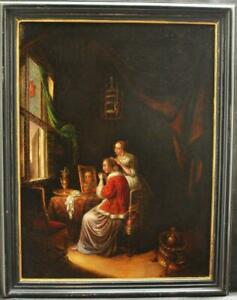 """LARGE 18th Century """"FLEMISH SCHOOL"""" LADY IN HER BEDCHAMBER Antique Oil Painting"""