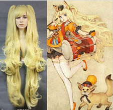 Popular Vocaaloid SeeU Long Curly Yellow Ponytails Anime Cosplay Wig + Gift Cap