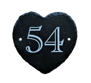 Engraved Personalised Slate Rustic Heart House Number Door Plaque Gate Sign