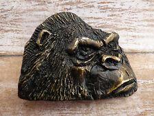 Silverback Gorilla Head Vintage 1977 Brass Belt Buckle