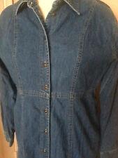 Liz Claiborne  Maxi Jean Dress Sz 10 Denim Button Down L/S 100% Cotton