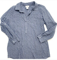 Soft Surroundings Roll Tab Chambray Striped Tunic Blouse Top Medium Blue