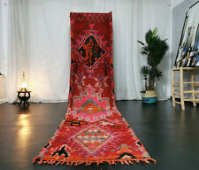 Boujaad Moroccan Handmade Vintage Runner 2'8x9'4 Floral Red Pink Berber Wool Rug
