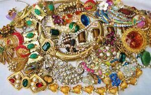 LARGE VINTAGE RHINESTONE CRYSTAL GEMSTONE Costume & Designer Signed Jewelry Lot