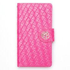 Elegant Mesh Weave Leather Metallic Flower Buckle Wallet Case Samsung Galaxy S5