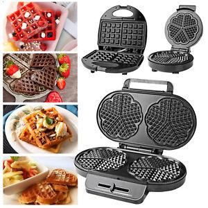 Double Single Deep Fill Waffle Maker Iron Non-Stick Plates Heart Square Shape