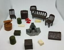 Lot Of 16 Vintage Plastic Furniture & Other Village House Accessories
