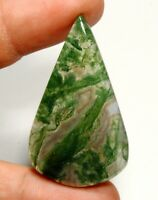 39 Ct Superb Natural Green Designer Moss Agate Opal Pear Cabochon  Gemstone C260