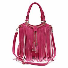 Top Pink Fringe Tassel Vegan Hobo Concealed Carry Purse Handbag Shoulder Bag Hot