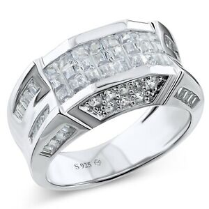 Men's Real Sterling Silver CZ Stones Fancy Design Ring Band Sizes 6-14 /Gift Box
