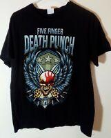 FFDP Five Finger Death Punch 2018 Tour T-shirt Black Skull Band Men's Size L