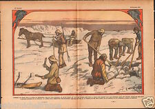Greenland Ice Fishermen Fisheries Fishs Pêches Glace Groenland 1933 ILLUSTRATION