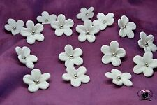 30pcs white blossom topper cupcake wedding silver pearl birthday handmade edible