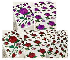 Red & pink glitter blink rose flower seal sticker for craft scrapbook valentine