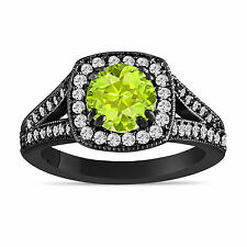Green Peridot And Diamonds Engagement Ring 14K Black Gold Vintage Style 1.56 Ct