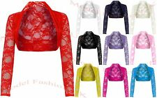 Womens Cropped Lace Shrug Ladies Bolero Plus Size Cardigan Top Size 8-26
