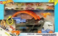 Hot Wheels Stunt & Go Hauler Transporter Truck + 10 Die Cast Vehicles Cars