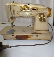 Vtg SINGER Slant-O-Matic 500A Rocketeer Sewing machine cabinet knee power switch