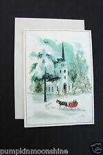 # I 654- Unused Glittered Xmas Greeting Card Chapel & Red Sleigh in Winter