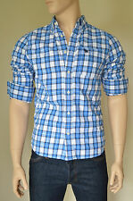 NEW Abercrombie & Fitch Dix Range Shirt Blue White Plaid Check S RRP £82