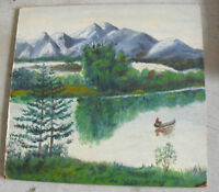 Vintage Oil on Wood Board Landscape Painting Man in Canoe Mountains More