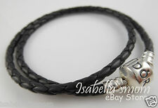 "BLACK LEATHER DOUBLE Genuine PANDORA Bracelet with SILVER Large 16.1""/41cm NEW"