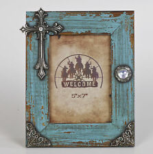 August Grove Peterborough Distressed Picture Frame with Cross