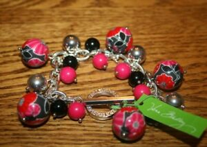 Vera Bradley Bauble Beaded Bracelet in Cheery Blossoms Red Black Silver NEW RARE
