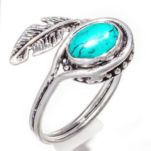 Turquoise Gemstone 925 Sterling Silver Handmade Jewelry Ring Size 7_b1244