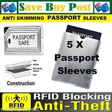 5 x RFID Secure Sleeve Passport Wallet Blocking Anti Scan Skimming ID Protector