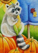50% OFF SALE! ACEO Limited Edition Print Autumn Scarecrow Racoon Pumpkins