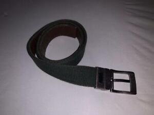 Levi's Men's Cotton Silver Buckle Green Brown Belt 12LV0335 Size M 26-28 EUC