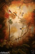 """High Quality Oil Painting on Stretched Canvas 24x36"""" - Wonderful Colorful Birds"""