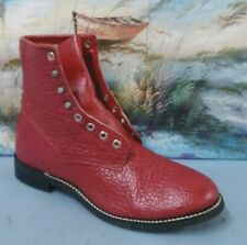 Justin Youth Western Red leather tassle tab boots size 6 D  595Y