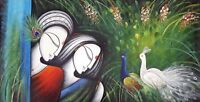 Religious Radha Krishna Oil Painting On Canvas Handmade Wall Decor Modern Art