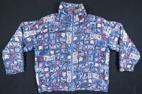 NWOT Vintage 80s 90s Nautical Anchor Sailboats Full Zip Silk Bomber Jacket M