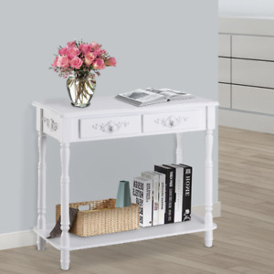 2 Drawers Console Table-White, Antique Design, Classic, Hallway, Entryway, Home