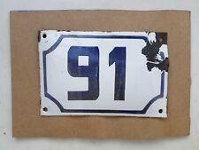 Genuine  vintage ISRAELI enamel porcelain number 91 street house sign # 91