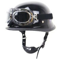 DOT German Style Motorcycle Half Helmet w/Goggles Chopper Scooter S/M/L/XL/XXL