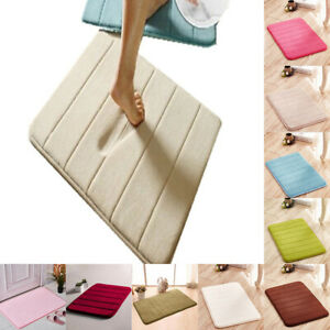 Home Bath Mat Coral Fleece Carpet Non-slip Memory Foam Washable Rug Floor Ma.ji
